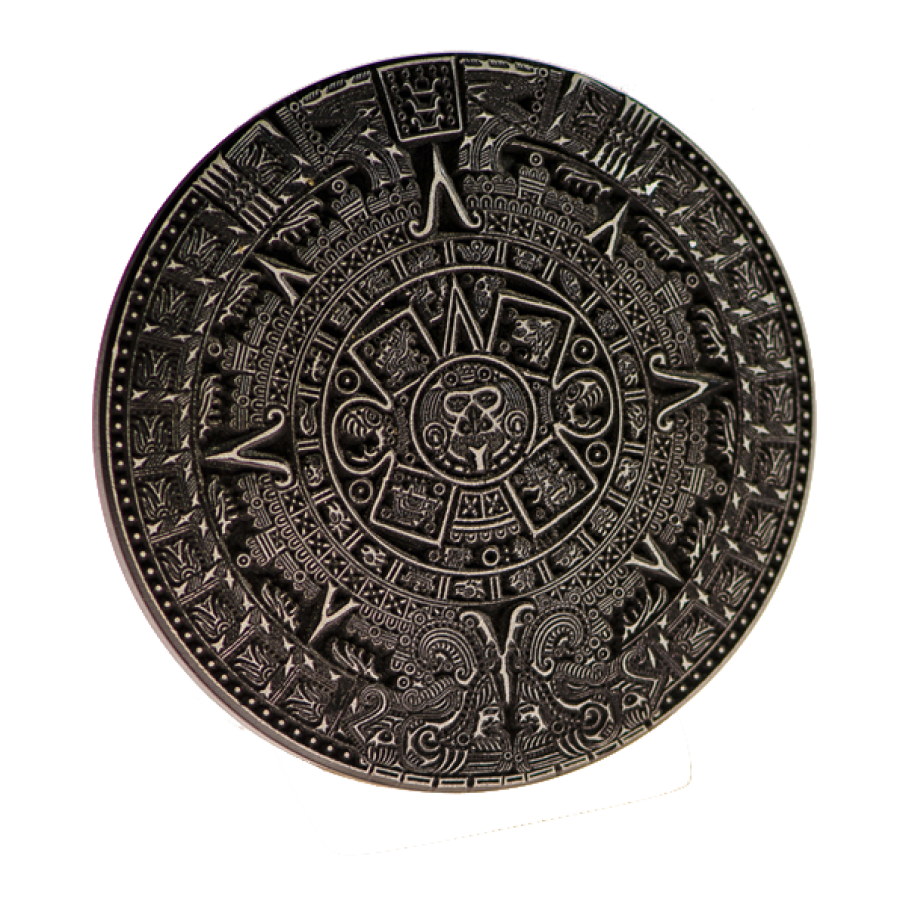 Calendrier Maya, presse-papier noir 8cm.