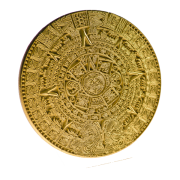 Calendrier Maya presse-papier or 8cm.