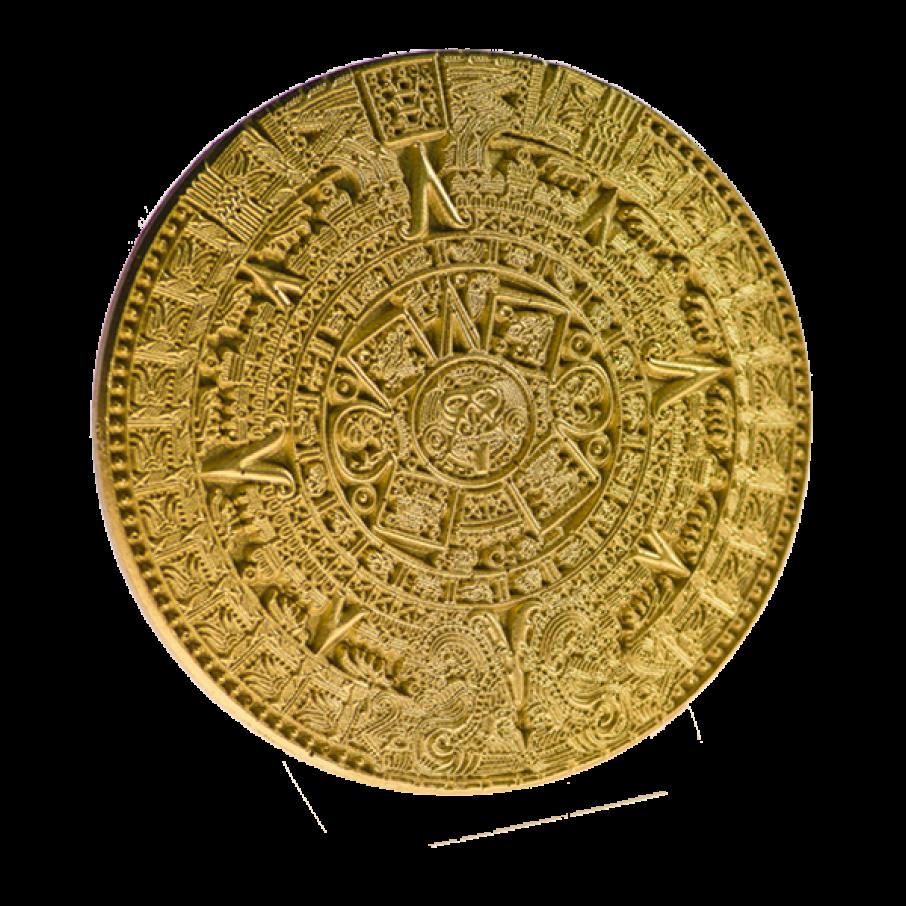 Calendrier Maya, presse-papier or 8cm.