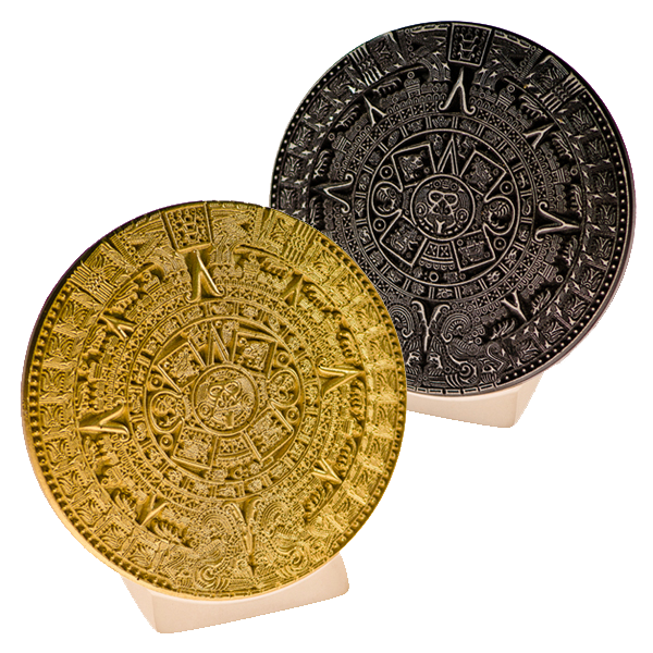 Calendrie Maya sur socle, objet de décoration, duo noir et or