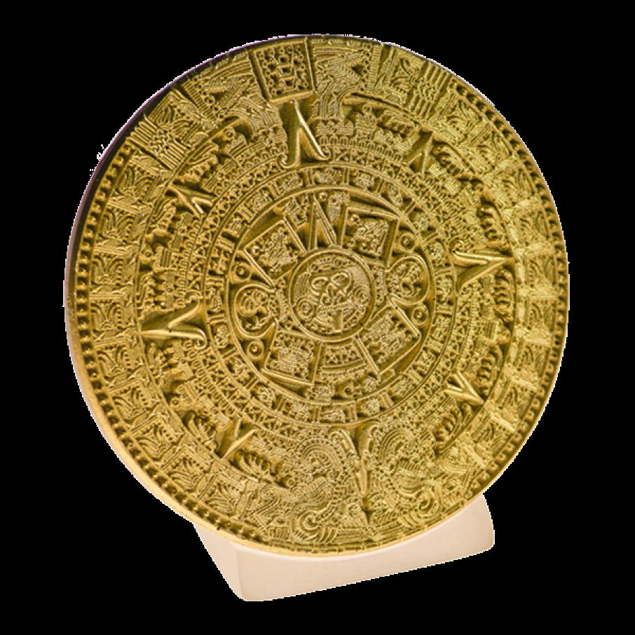 Calendrie Maya sur socle, objet de décoration,or