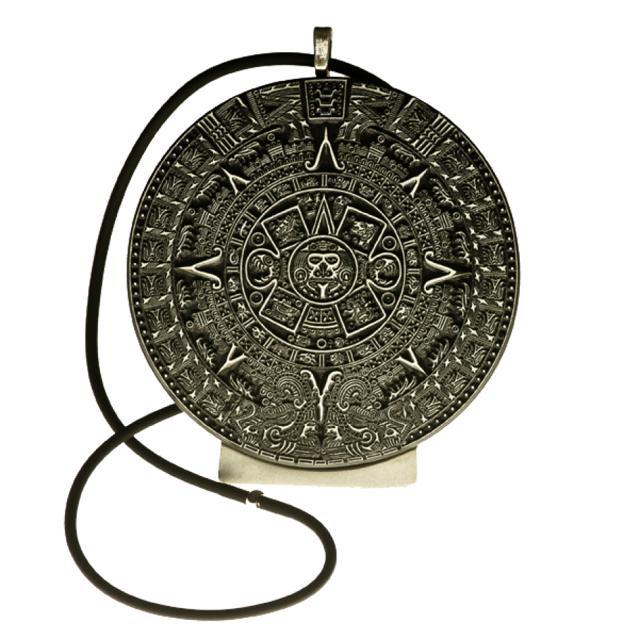 Calendrie Maya, pendentif noir