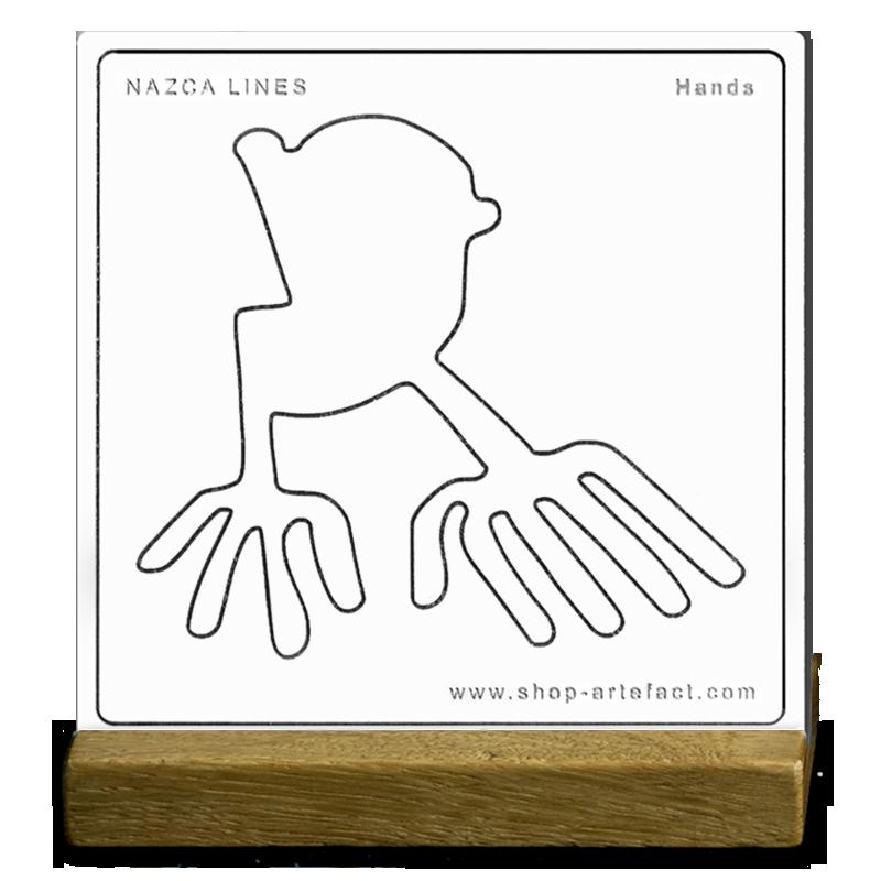 Nazca Lines Hands Sur socle Photo et design ©Retourney Yannick pour Shop-Artefact.com, les Anciens Bâtisseurs.