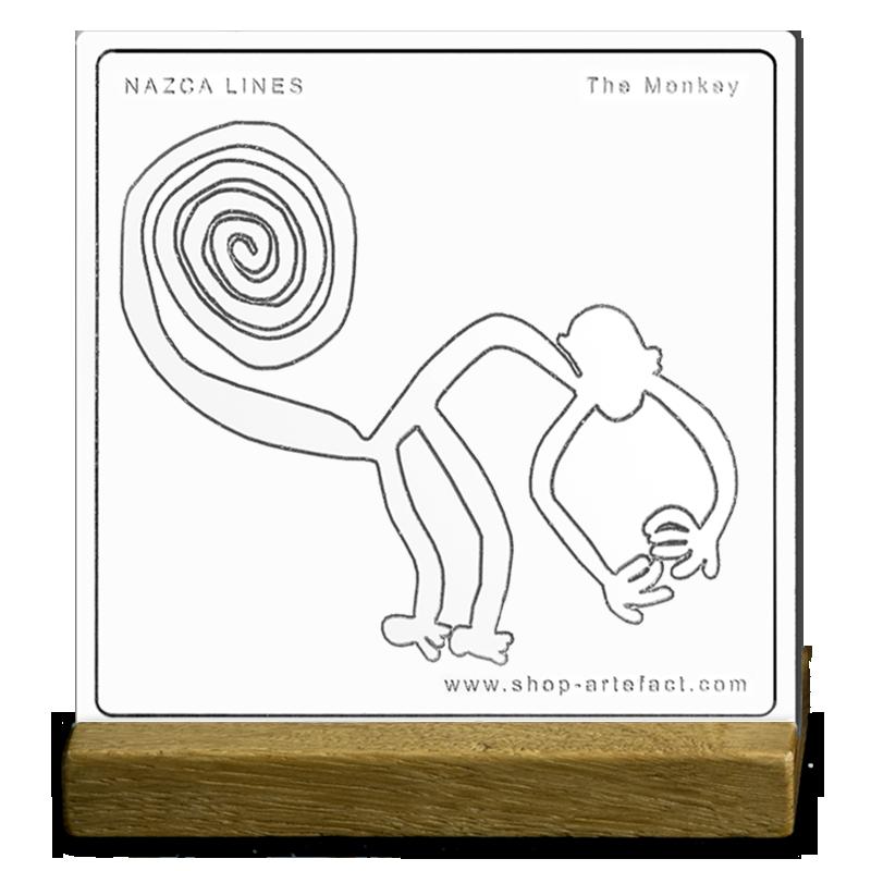 Nazca Lines The Monkey Sur socle Photo et design ©Retourney Yannick pour Shop-Artefact.com, les Anciens Bâtisseurs.