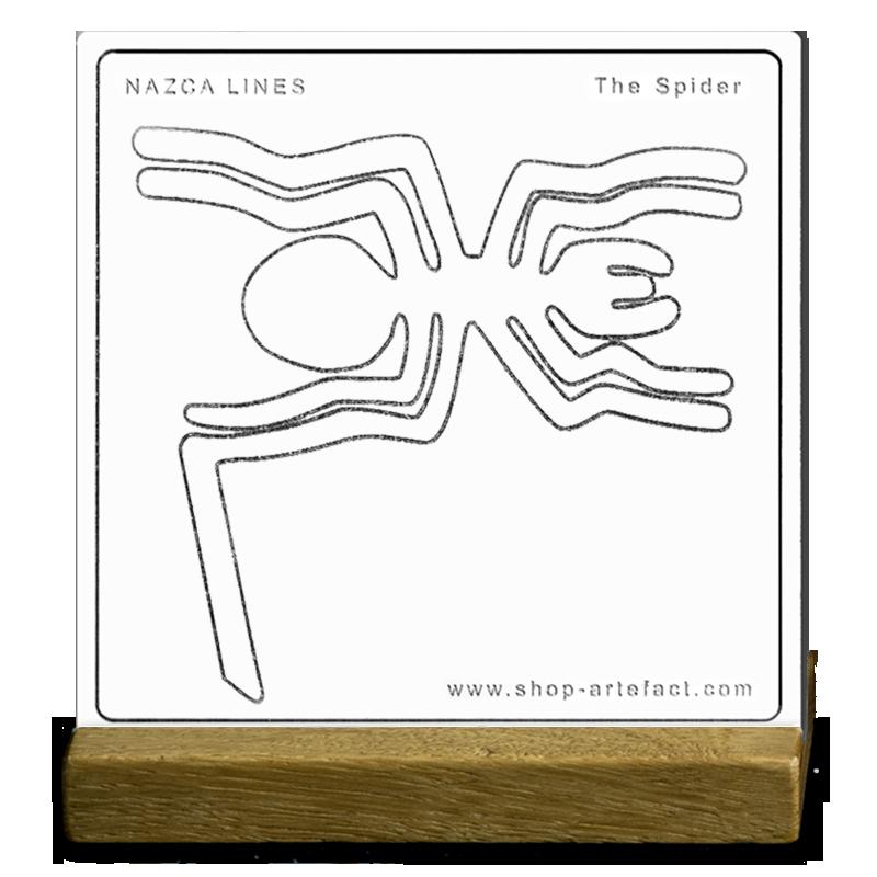 Nazca Lines The Spider sur socle Photo et design ©Retourney Yannick pour Shop-Artefact.com, les Anciens Bâtisseurs.