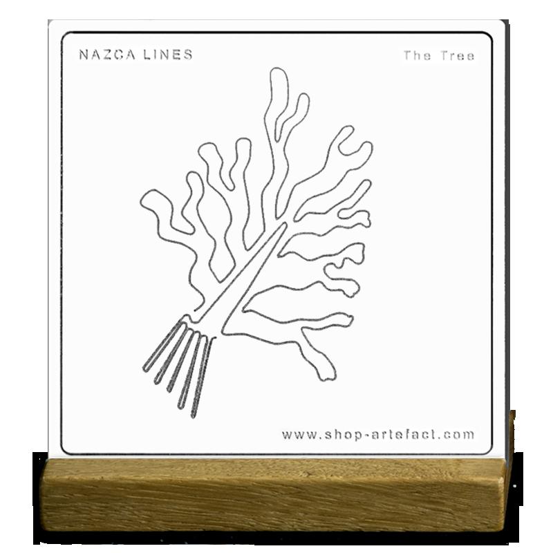 Nazca Lines The Tree Sur socle Photo et design ©Retourney Yannick pour Shop-Artefact.com, les Anciens Bâtisseurs.